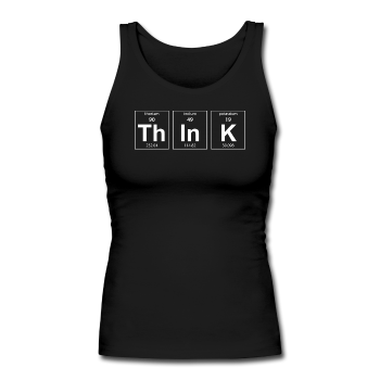 """ThInK"" (white) - Women's Tank Top black / S - LabRatGifts - 1"