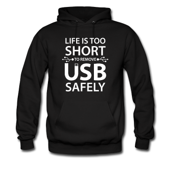 """Life is too Short"" (white) - Men's Sweatshirt black / S - LabRatGifts - 1"