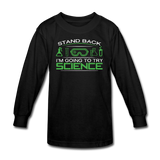 """Stand Back"" - Kids' Long Sleeve T-Shirt black / XS - LabRatGifts - 1"