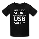 """Life is too Short"" (white) - Kids' T-Shirt black / XS - LabRatGifts - 1"