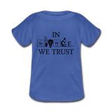 """In Science We Trust"" (black) - Baby Lap Shoulder T-Shirt royalblue / Newborn - LabRatGifts - 3"