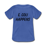 """E. Coli Happens"" (black) - Baby Lap Shoulder T-Shirt royalblue / Newborn - LabRatGifts - 3"