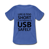 """Life is too Short"" (black) - Baby Lap Shoulder T-Shirt royalblue / Newborn - LabRatGifts - 3"