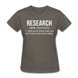"""Research"" (white) - Women's T-Shirt charcoal / S - LabRatGifts - 11"