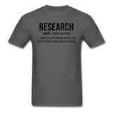 """Research"" (black) - Men's T-Shirt charcoal / S - LabRatGifts - 14"