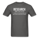 """Research"" (white) - Men's T-Shirt charcoal / S - LabRatGifts - 7"