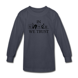 """In Science We Trust"" (black) - Kids' Long Sleeve T-Shirt navy / XS - LabRatGifts - 3"