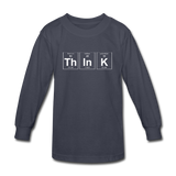 """ThInK"" (white) - Kids' Long Sleeve T-Shirt navy / XS - LabRatGifts - 2"