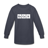 """BaCoN"" - Kids' Long Sleeve T-Shirt navy / XS - LabRatGifts - 2"