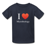 """I ♥ Microbiology"" (white) - Kids' T-Shirt navy / XS - LabRatGifts - 4"
