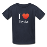 """I ♥ Physics"" (white) - Kids' T-Shirt navy / XS - LabRatGifts - 4"