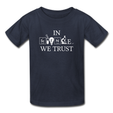 """In Science We Trust"" (white) - Kids' T-Shirt navy / XS - LabRatGifts - 2"