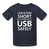 """Life is too Short"" (white) - Kids' T-Shirt navy / XS - LabRatGifts - 2"