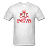 """Keep Calm and Carry On in the Lab"" (red) - Men's T-Shirt light oxford / S - LabRatGifts - 2"