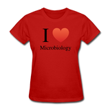 """I ♥ Microbiology"" (black) - Women's T-Shirt red / S - LabRatGifts - 8"