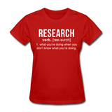 """Research"" (white) - Women's T-Shirt red / S - LabRatGifts - 8"