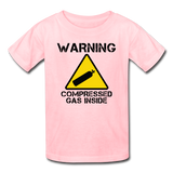 """Warning Compressed Gas Inside"" - Kids' T-Shirt pink / XS - LabRatGifts - 3"