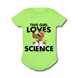 """This Girl Loves Science"" (blonde) - Baby Short Sleeve One Piece kiwi / Newborn - LabRatGifts - 3"