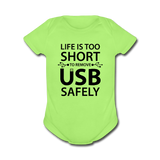 """Life is too Short"" (black) - Baby Short Sleeve One Piece kiwi / Newborn - LabRatGifts - 2"