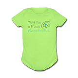 """Think like a Proton"" (black) - Baby Short Sleeve One Piece kiwi / Newborn - LabRatGifts - 2"