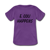 """E. Coli Happens"" (black) - Baby Lap Shoulder T-Shirt purple / Newborn - LabRatGifts - 2"