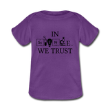 """In Science We Trust"" (black) - Baby Lap Shoulder T-Shirt purple / Newborn - LabRatGifts - 2"