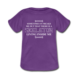 """Skeleton Inside Me"" - Baby Lap Shoulder T-Shirt purple / Newborn - LabRatGifts - 2"