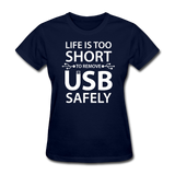 """Life is too Short"" (white) - Women's T-Shirt navy / S - LabRatGifts - 2"