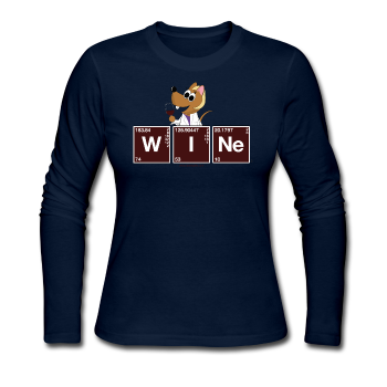 """WINe Periodic Table"" - Women's Long Sleeve T-Shirt navy / S - LabRatGifts - 1"