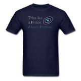 """Think like a Proton"" (white) - Men's T-Shirt navy / S - LabRatGifts - 2"