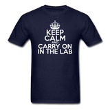 """Keep Calm and Carry On in the Lab"" (white) - Men's T-Shirt navy / S - LabRatGifts - 8"