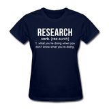 """Research"" (white) - Women's T-Shirt navy / S - LabRatGifts - 10"