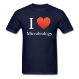 """I ♥ Microbiology"" (white) - Men's T-Shirt navy / S - LabRatGifts - 2"