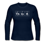 """ThInK"" (white) - Women's Long Sleeve T-Shirt navy / S - LabRatGifts - 3"