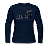 """Stop Following Me"" - Women's Long Sleeve T-Shirt navy / S - LabRatGifts - 6"