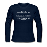 """Skeleton Inside Me"" - Women's Long Sleeve T-Shirt navy / S - LabRatGifts - 3"