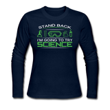 """Stand Back"" - Women's Long Sleeve T-Shirt navy / S - LabRatGifts - 2"