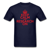 """Keep Calm and Research On"" (red) - Men's T-Shirt navy / S - LabRatGifts - 13"