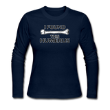 """I Found this Humerus"" - Women's Long Sleeve T-Shirt navy / S - LabRatGifts - 6"