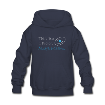 """Think like a Proton"" (white) - Kids' Sweatshirt navy / S - LabRatGifts - 1"