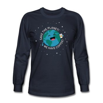 """Save the Planet"" - Men's Long Sleeve T-Shirt navy / S - LabRatGifts - 1"