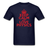 """Keep Calm and Love Physics"" (red) - Men's T-Shirt navy / S - LabRatGifts - 12"