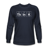 """ThInK"" (white) - Men's Long Sleeve T-Shirt navy / S - LabRatGifts - 2"