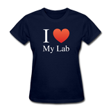 """I ♥ My Lab"" (white) - Women's T-Shirt navy / S - LabRatGifts - 2"