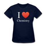 """I ♥ Chemistry"" (white) - Women's T-Shirt navy / S - LabRatGifts - 2"
