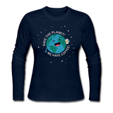 """Save the Planet"" - Women's Long Sleeve T-Shirt navy / S - LabRatGifts - 1"