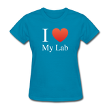 """I ♥ My Lab"" (white) - Women's T-Shirt turquoise / S - LabRatGifts - 5"