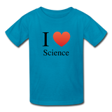 """I ♥ Science"" (black) - Kids' T-Shirt turquoise / XS - LabRatGifts - 4"