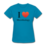 """I ♥ Microbiology"" (black) - Women's T-Shirt turquoise / S - LabRatGifts - 6"