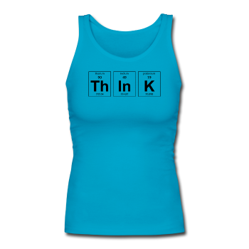 """ThInK"" (black) - Women's Tank Top turquoise / S - LabRatGifts - 1"